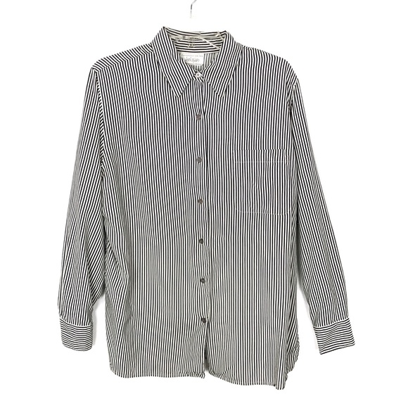 96d004a43ed10 Lord & Taylor Tops | Lord Taylor Silk Blouse Button Down Pinstriped ...